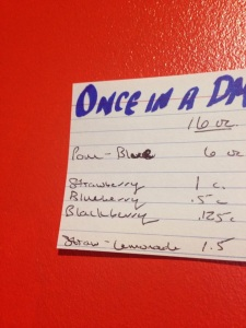"The ingredient list to Blenders' special ""Once in a DMlue Moon"" smoothie"